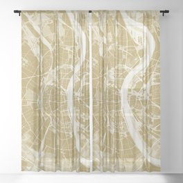 Cologne map gold Sheer Curtain