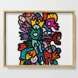 Cool Street Art Fun Multicolor Creatures Serving Tray