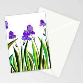 Large Purple Irises Stationery Cards