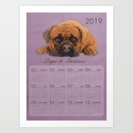 Dogue de Bordeaux - French Mastiff  2019 Calendar Art Print
