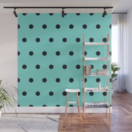 Small Black Dots on Aqua Wall Mural