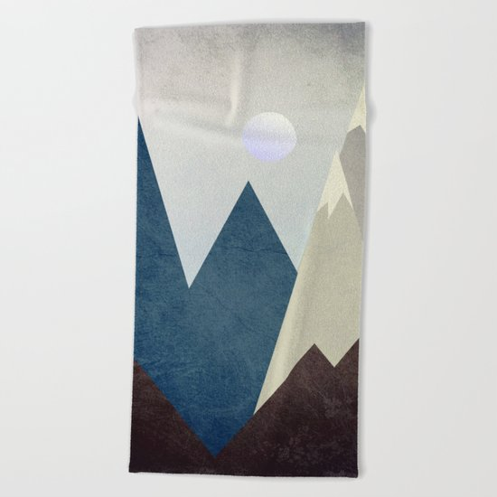 The Moon Over The Mountains Beach Towel