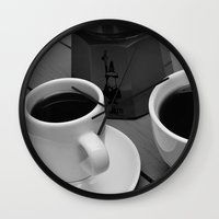 coffe Wall Clocks featuring Coffe for two by Camaracraft