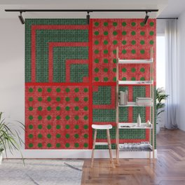 Christmas Green Woven Pattern with Red Dots Wall Mural