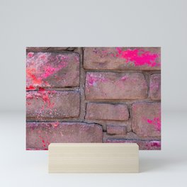 Urban Texture Photography - Pink paint on concrete brick wall Mini Art Print