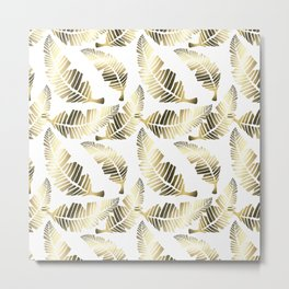 Tropical brown gold abstract leaves floral pattern Metal Print