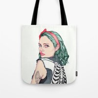 french Tote Bags featuring GIRL by Laura O'Connor