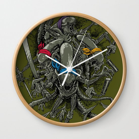 Ancient Ninja Xenomorphs Wall Clock