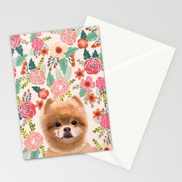 Pomeranian floral dog portrait cute art gifts for dog breed pom lovers Stationery Cards