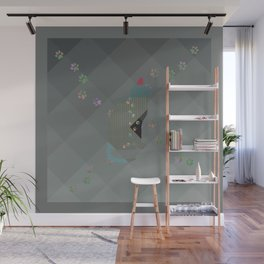 Crazy Cat Track Squares Wall Mural