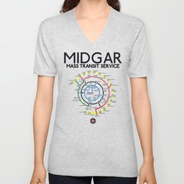 Final Fantasy VII - Midgar Mass Transit System Map Unisex V-Neck