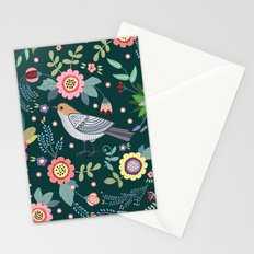 Pattern with beautiful bird in flowers Stationery Cards