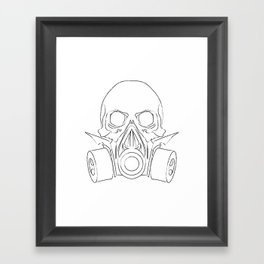 Vector punk steampunk lineart Skull with gas mask Framed Art Print