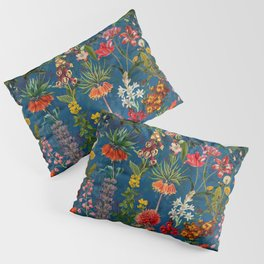 Vintage & Shabby Chic - Blue Midnight Spring Botancial Flower Garden Pillow Sham