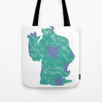 monster inc Tote Bags featuring MONSTER INC. : SULLEY by DrakenStuff+