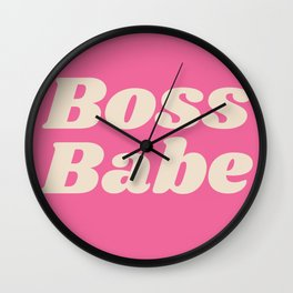 Retro Boss Babe - Pink Wall Clock