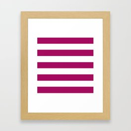Jazzberry jam -  solid color - white stripes pattern Framed Art Print