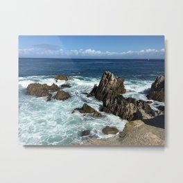 Waves crashing on rocks in Monterey Bay Metal Print