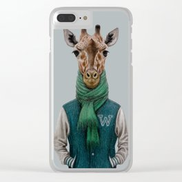 the giraffe in jacket. Clear iPhone Case