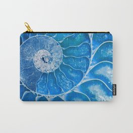 Blue colored Ammonite fossil Carry-All Pouch
