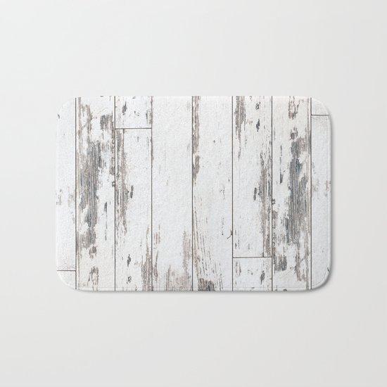 White Wood Bath Mat