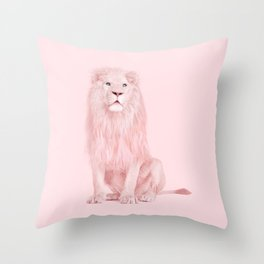 PINK LION Throw Pillow