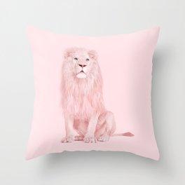 PINK LION Throw Pillow