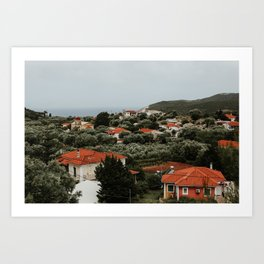 View with Tuscan influenced houses | Colourful Travel Photography | Zakynthos, Greece (Zante) Art Print