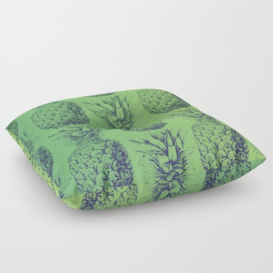 Pineapples, tropical fruit pattern design in green Floor Pillow by Katerina Kirilova Society6