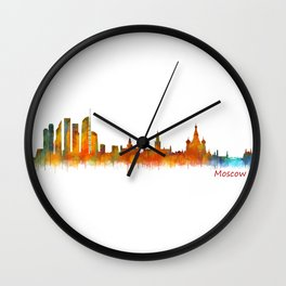 Moscow City Skyline art HQ v2 Wall Clock