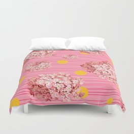 hydrangea spots and stripes Duvet Cover