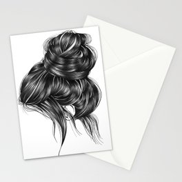 Loose Bun Hair Illustration Stationery Cards