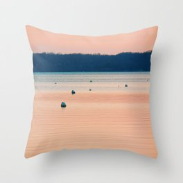 Pink sunset on Severn River, MD | Minimalist landscape photography Throw Pillow
