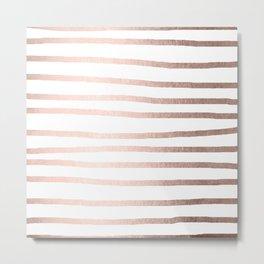 Simply Drawn Stripes Moon Dust Bronze Metal Print