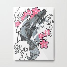Grey Dragonkoi and Pink Sakura in Waves Metal Print
