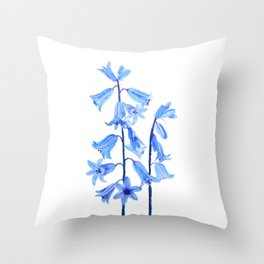 botanical bluebell flowers watercolor Throw Pillow
