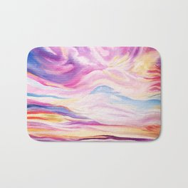 Colourful, Vibrant Abstract Sunset Oil Painting Bath Mat