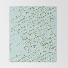 French Script on Paris Blue Throw Blanket