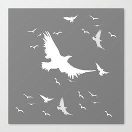 WHITE BIRDS IN FLIGHT GREY ABSTRACT MODERN ART Canvas Print