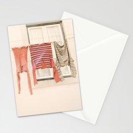Colorful Laundry Photo   Portugal Travel Photography   Laundry On Washing Line Lisbon Stationery Cards