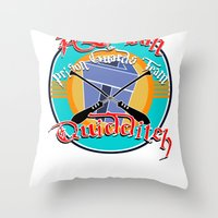 quidditch Throw Pillows featuring AZKABAN QUIDDITCH TEAM by karmadesigner