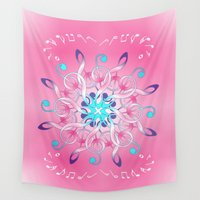 music notes Wall Tapestries featuring Music Notes In Pink by HK Chik
