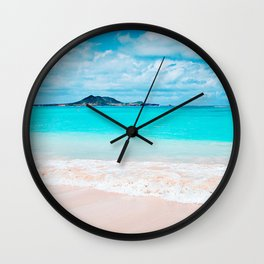 """Home is where the ocean meets the shore"" quote Hawaii turquoise ocean & sandy beach Wall Clock"
