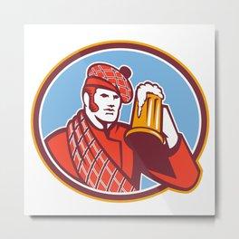 Scotsman Beer Drinker Mug Retro Metal Print