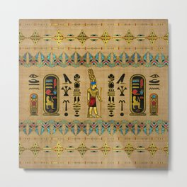 Egyptian Amun Ra - Amun Re Ornament on papyrus Metal Print