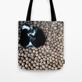 Two little kitties on some nuts Tote Bag
