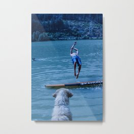 Dog watches master jump in water (Summertime reflections) Metal Print