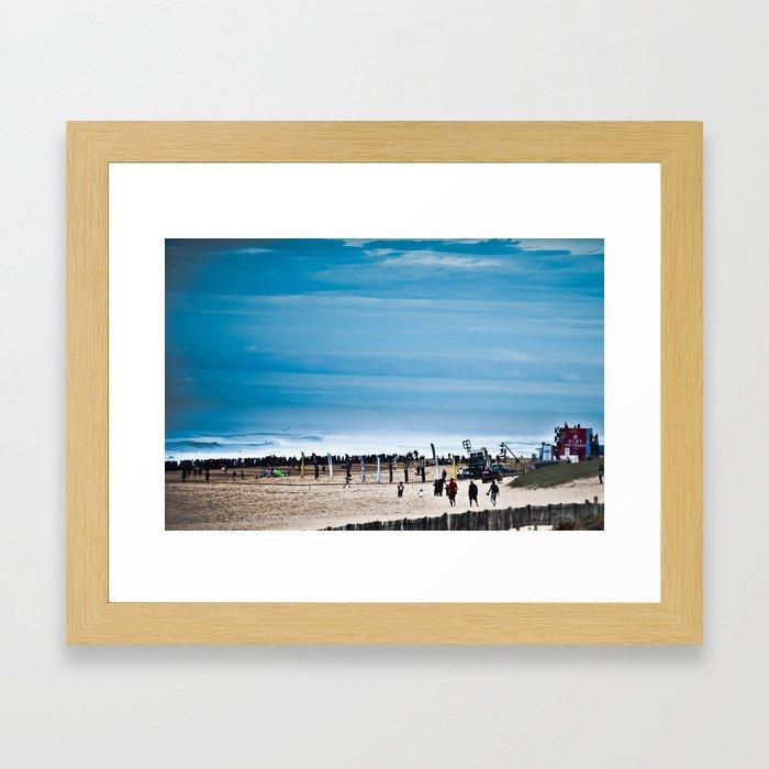 Hossegor Beach, France. Surf World tour Framed Art Print