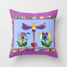 Dragonfly Love with Border Throw Pillow
