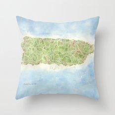 Puerto Rico watercolor map Throw Pillow